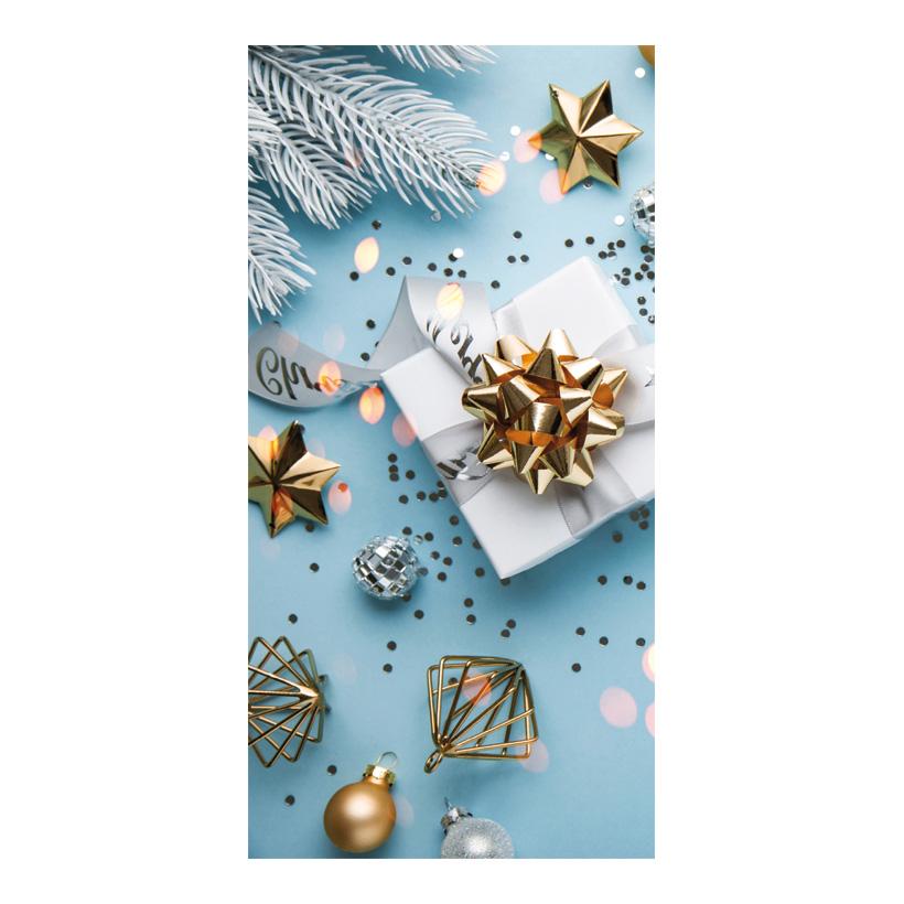 """# Motivdruck """"Geschenk auf blau"""", 180x90cm Papier"""