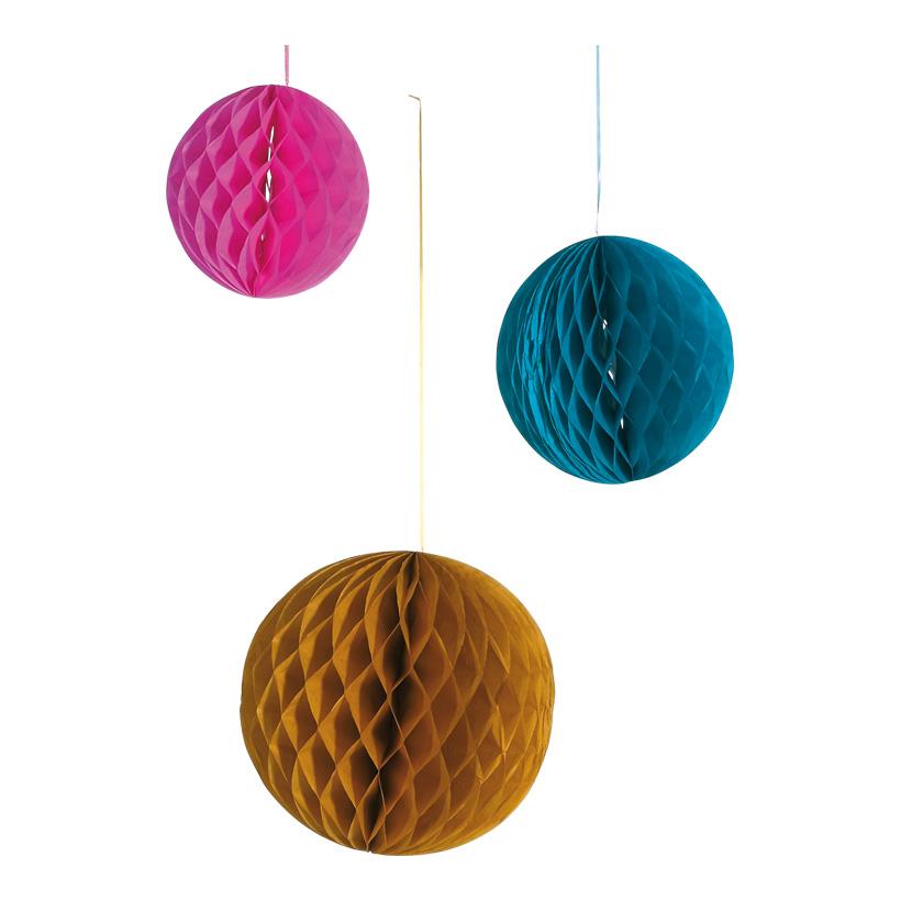 # Wabenball 20/25/30 cm Papier, 3 Stck./Satz, braun/petrol/pink