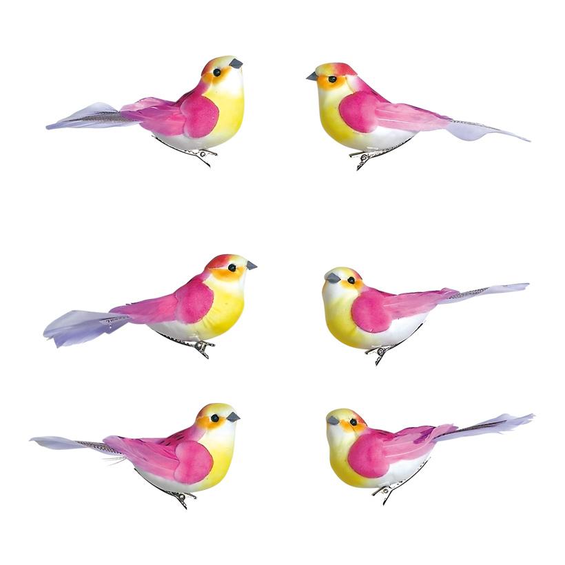 # Vögel 12x4,5x5 cm Schaum/Federn, 6 Stk./Satz