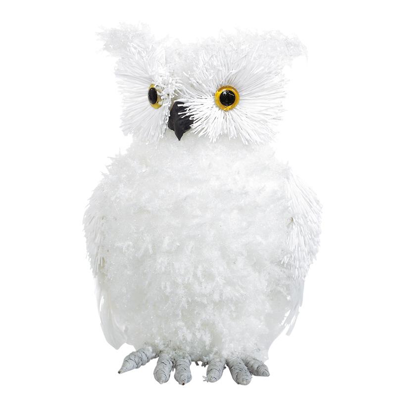 Schnee-Eule 24cm hoch, beflockt mit weißen Federn, Styropor