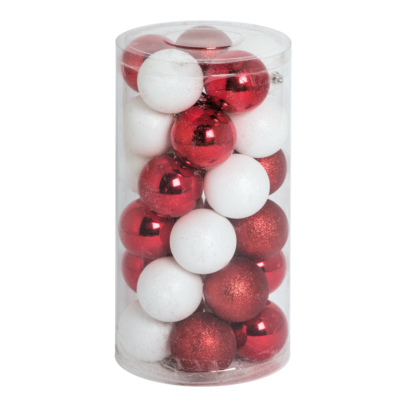 30 Weihnachtskugeln, rot/weiß, Ø 6cm 12x rot glänzend, 12x weiß glänzend, 6x rot beglittert
