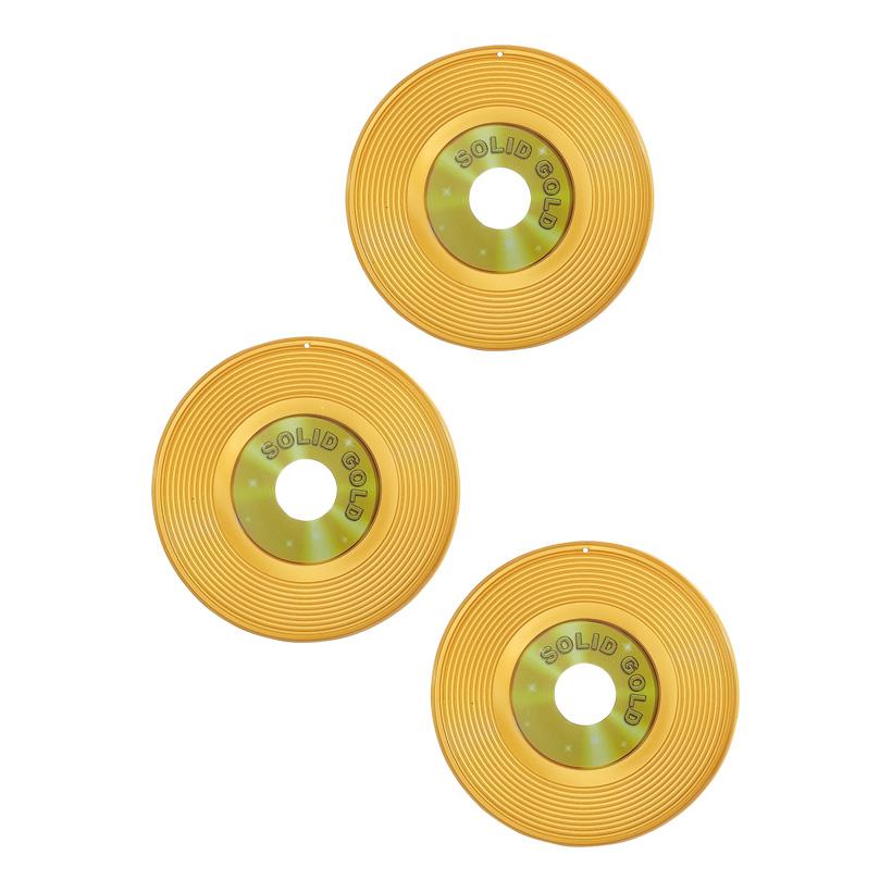 # Goldene Schallplatte, Ø 23cm, 3Stck./Satz, Kunststoff