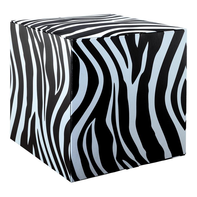"""# Motivwürfel """"Zebra"""", 32x32x32cm Pappkreuz innen zur Stabilisierung, hohe Druck- und Materialqualität, 450g/m≤, aus Pappe, faltbar"""