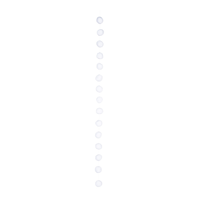 Schneeballkette, 180cm Ø6cm mit 15 Kugeln, aus Vlies