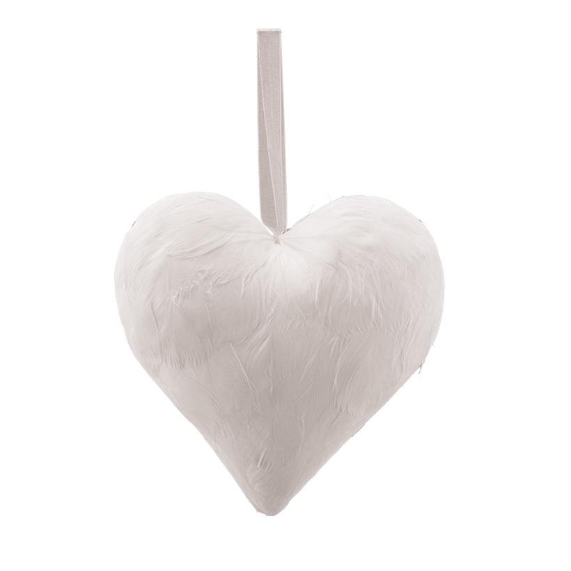 Herz mit Hänger, H: 15cm bezogen mit Federn, aus Hartschaum