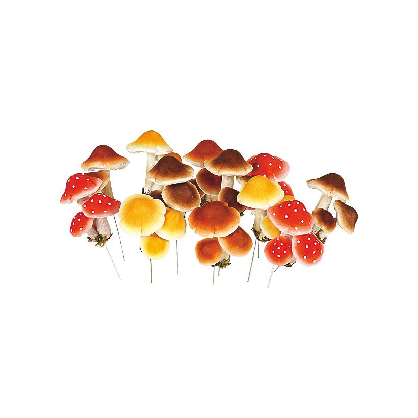 Pilze, 8cm, 12 Pilzgruppen/Box, 4-fach sortiert, Styropor, Papier