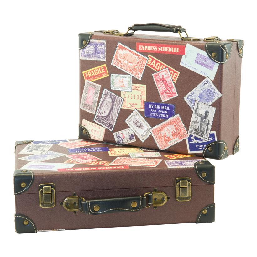 "# Koffer ""Briefmarkendesign"", 36x24x10cm, 40x30x12cm, 2Stck./Satz, nestend, Holz, Kunstleder"