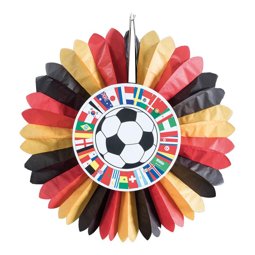 """# Rosette """"Fußball Cup"""" 60cm Deutschland, 2-seitig bedruckt, aus Papier, schwer entflammbar"""