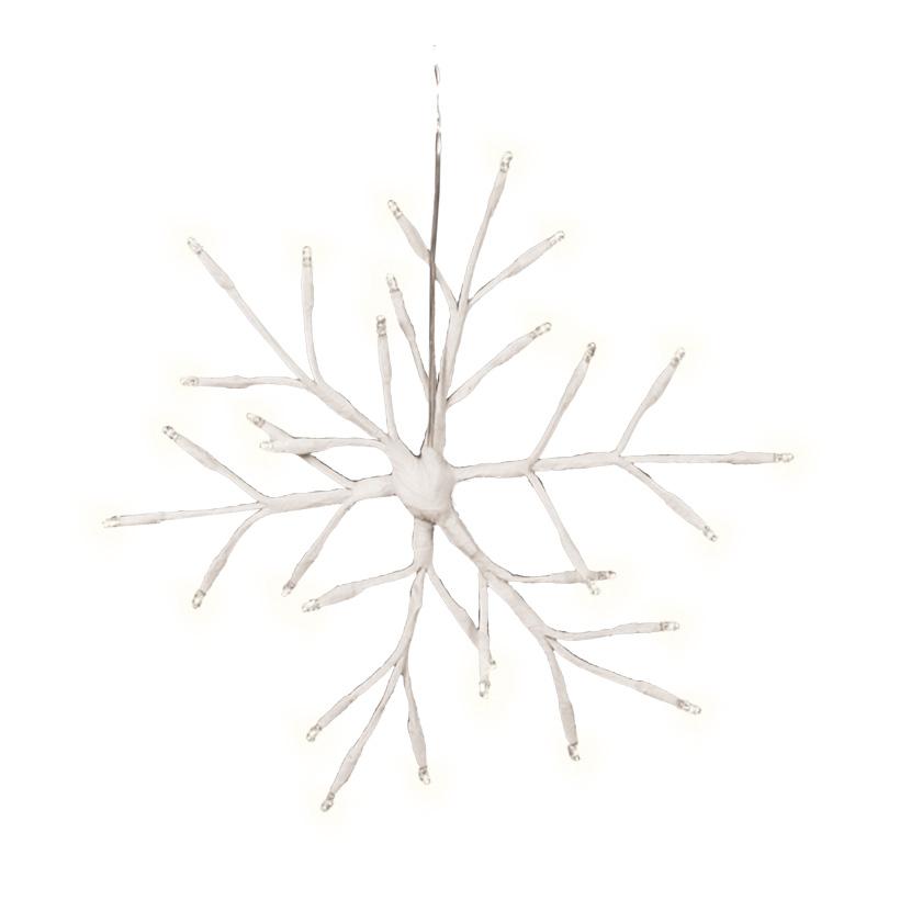 Schneeflocke, 30cm, 30LEDs, warm weiß, für Außen, mit 6 Stunden Timer, Batteriebetrieb, 3x AA Batterie