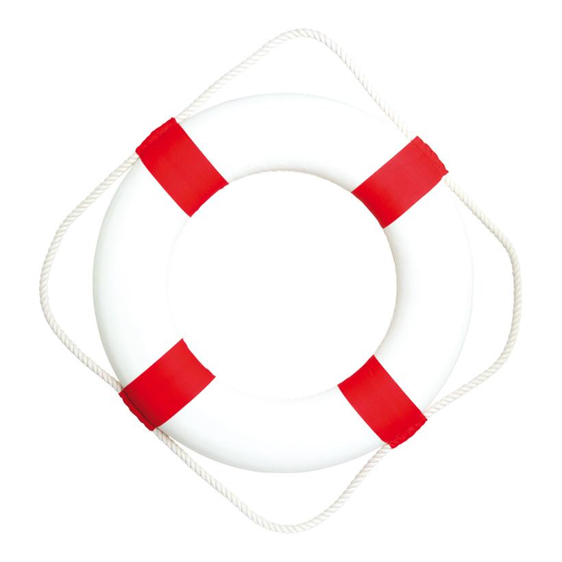 # Rettungsring mit Tau, Ø 50cm, Styrofoam mit Baumwolle überzogen