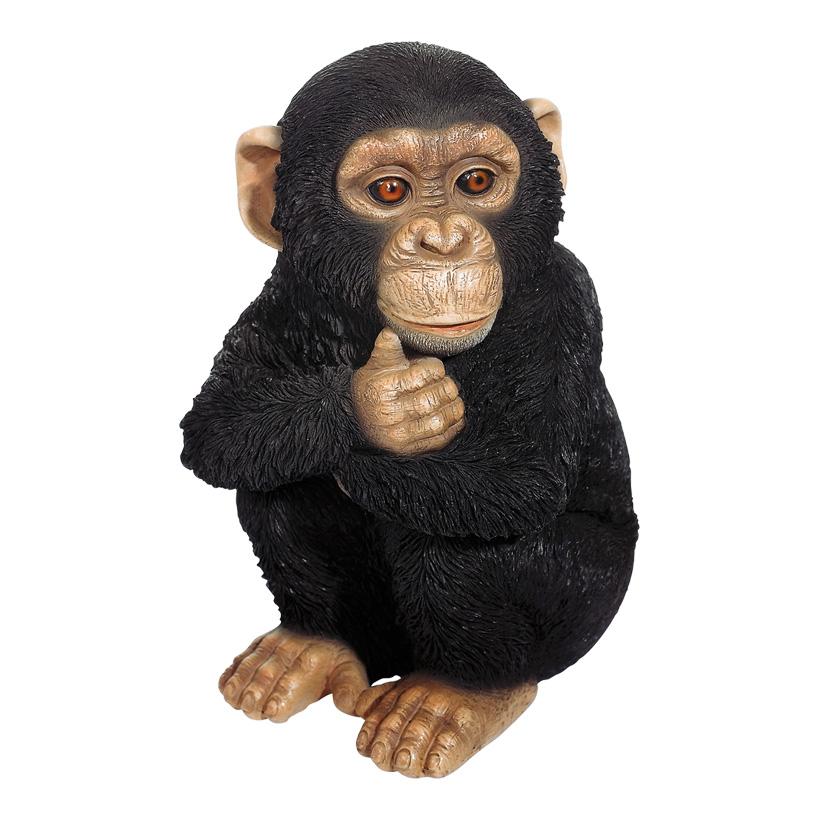 Schimpanse 20x19x31 cm sitzend, Kunstharz