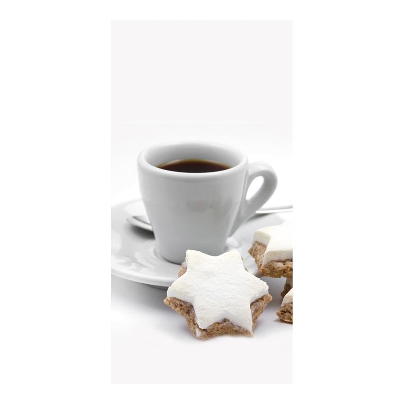 """# Motivdruck """"Kaffeetasse mit Keks"""", 180x90cm Papier"""