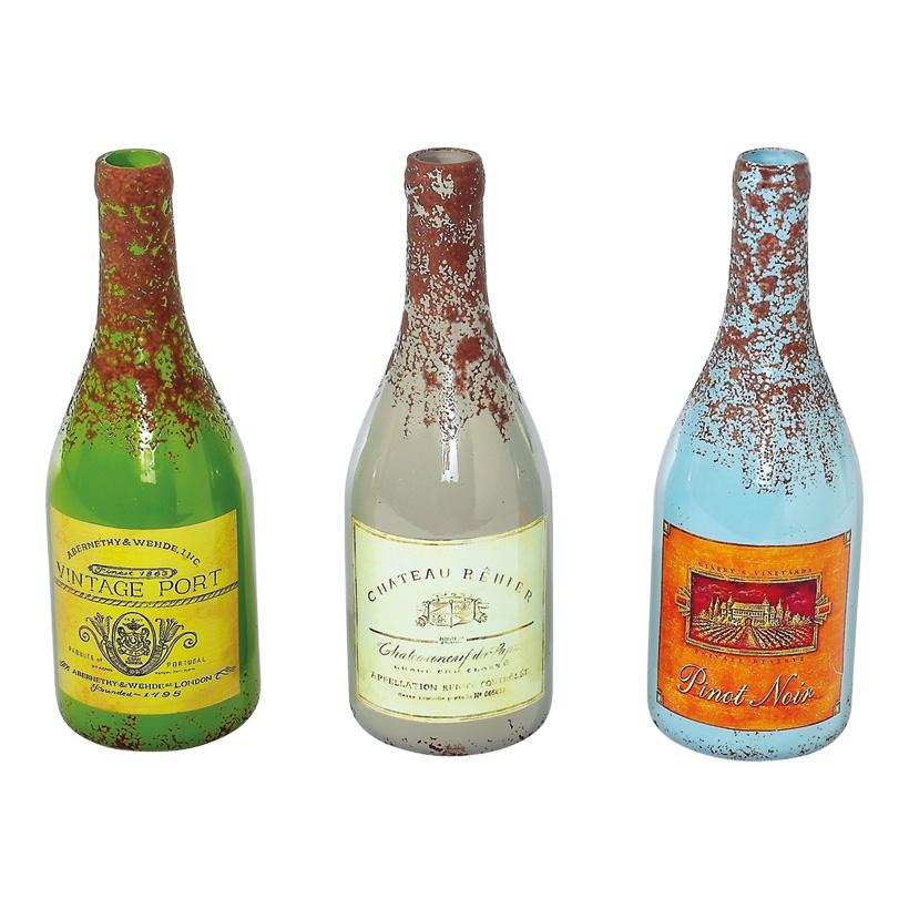 Weinflaschen-Set 10x32 cm Glas, 3 tlg./Set grün/blau/grau