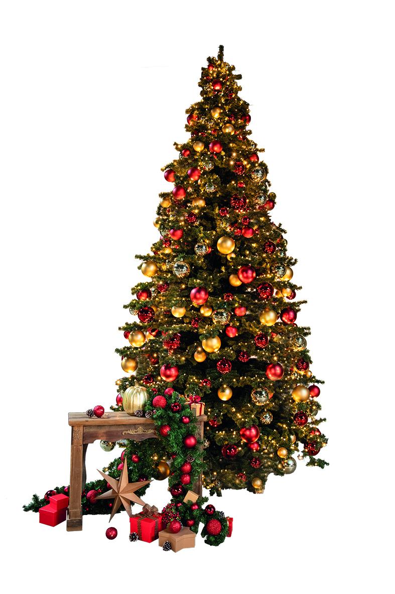 # Gigantbaum, 300cm Ø 200cm mit 3.360 Tips, mit Metallständer, für Innen, 15 Lichterketten a 10m und 100 LEDs, 36V, total 288 Kugeln in 5 verschiedenen Durchmessern