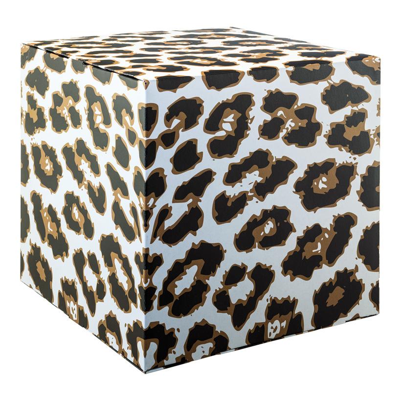 """# Motivwürfel """"Leopard"""", 32x32x32cm Pappkreuz innen zur Stabilisierung, hohe Druck- und Materialqualität, 450g/m≤, aus Pappe, faltbar"""