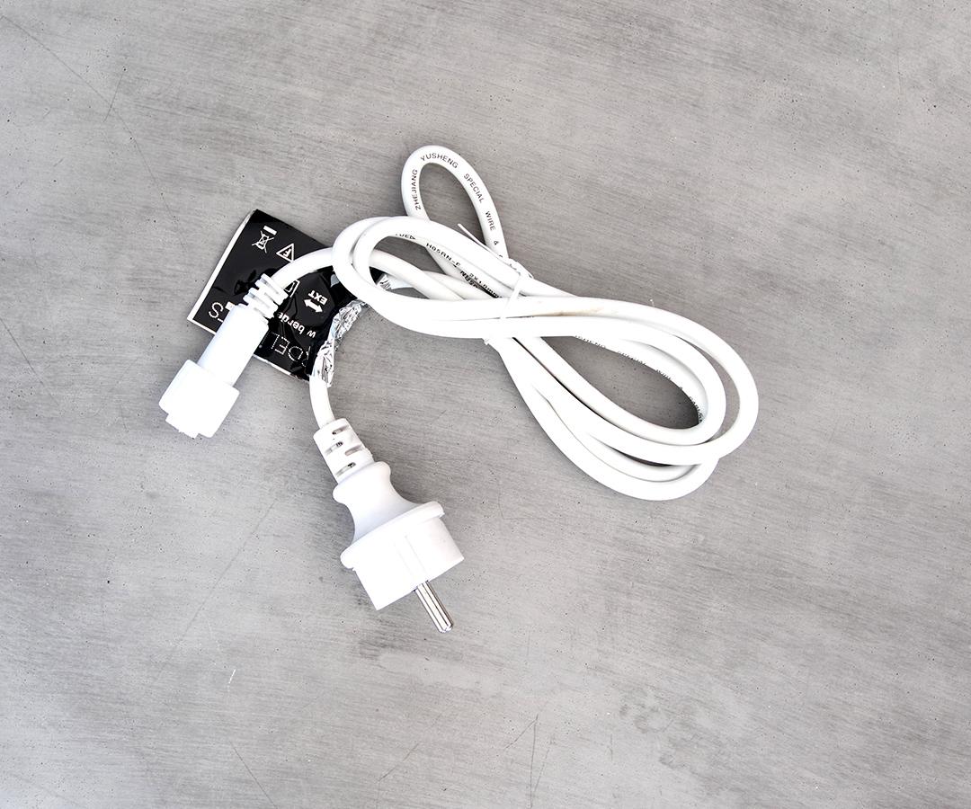 # LED Euro Stecker, 150cm Anschlusskabel aus Gummi, IP44, für Innen- & Außenbereich