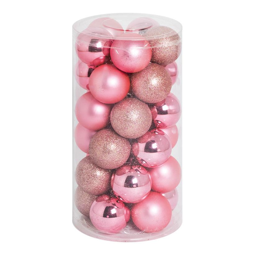 30 Weihnachtskugeln, rosa, Ø 6cm 12x glänzend, 12x matt, 6x beglittert