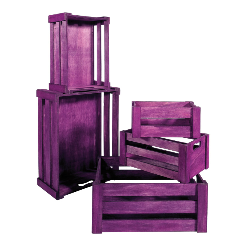 Lattenkisten von 37x28.5x15.5cm bis 21x12.5x9.5 cm, Holz, 5 Stck./Satz, nestend