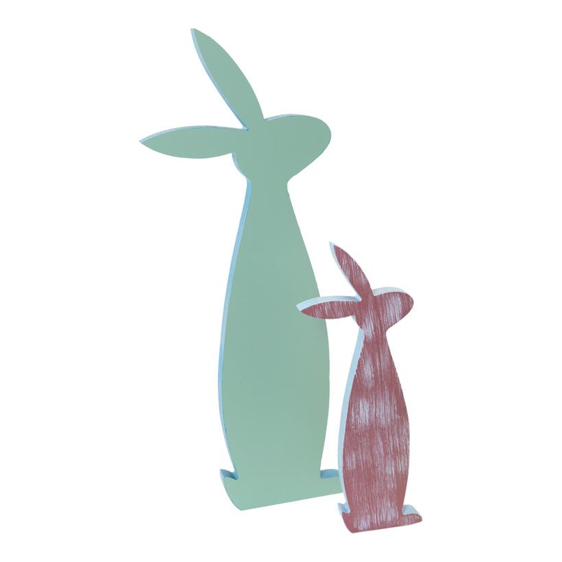 Hasenfamilie, H: 30cm & 50cm stehend, im 2er-Set, Holzkonturen