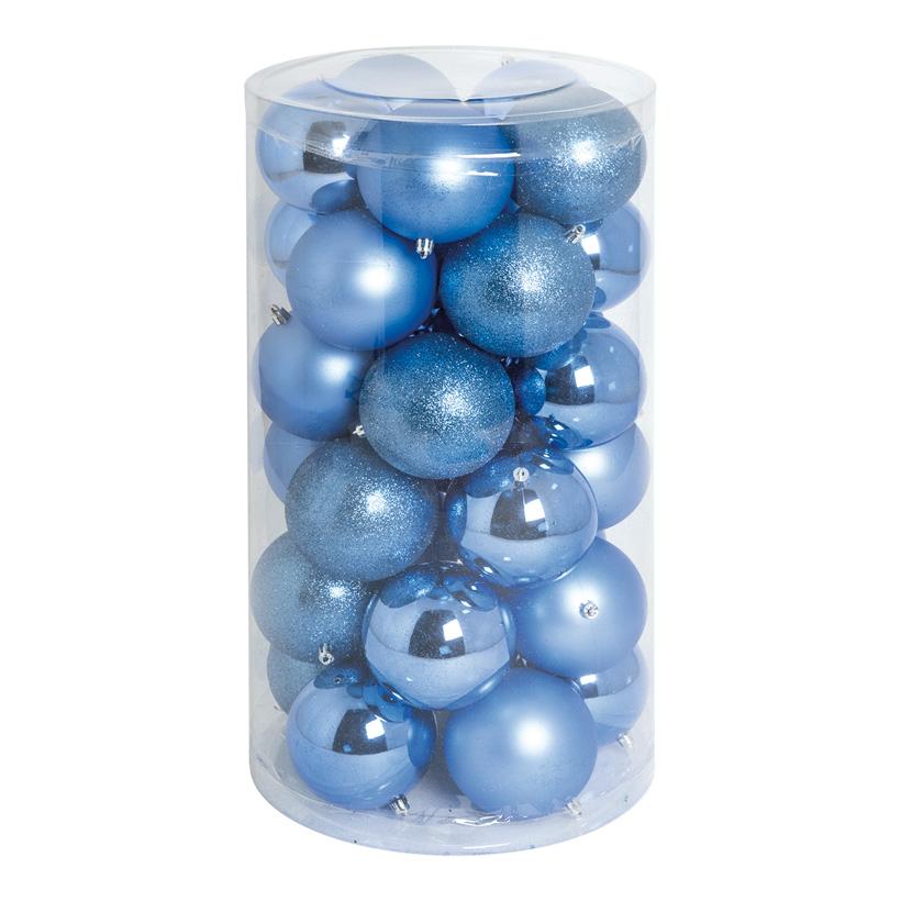 30 Weihnachtskugeln, blau, Ø 10cm 12x glänzend, 12x matt, 6x beglittert
