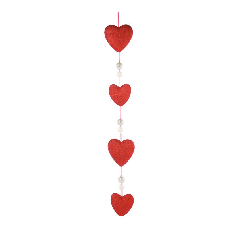 Herzkette, 150cm, 4-fach, 6 Perlen, Glitter, Styropor/Kunststoff