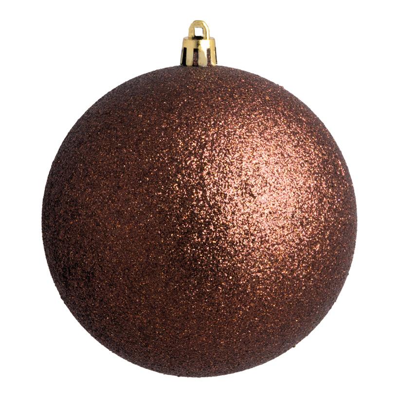 Weihnachtskugel, braun glitter, Ø 8cm 6 St./Blister
