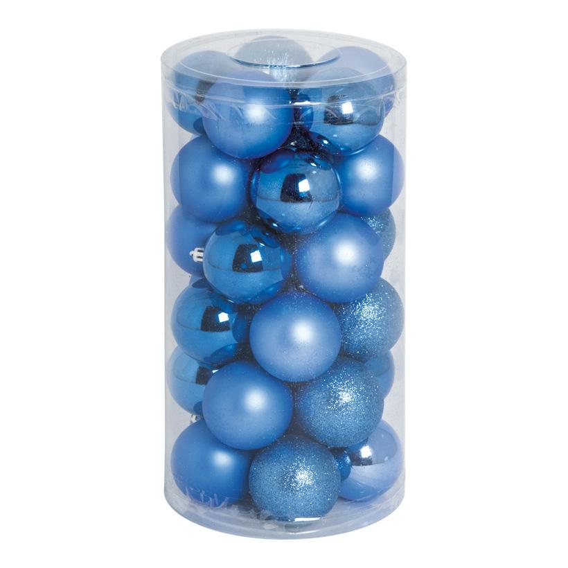 30 Weihnachtskugeln, blau, Ø 6cm 12x glänzend, 12x matt, 6x beglittert