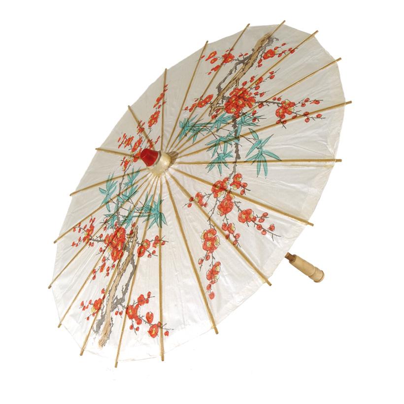 Papierschirm, Ø 60cm, 70cm, mit Blumendruck, geölt
