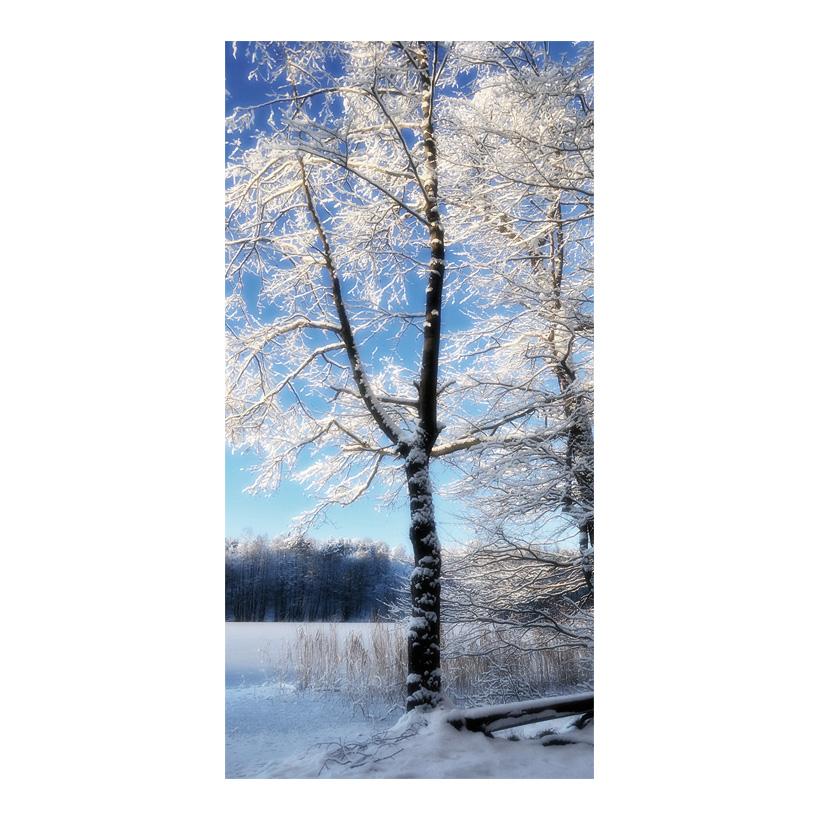 "# Motivdruck ""Baum im Raureif"", 180x90cm Papier"