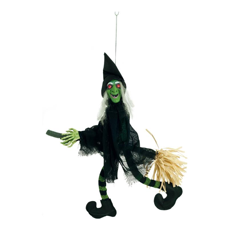 Hexe auf Besen, 70x45cm, bewegliche Beine, spricht+lacht, Augen blinken rot, 3x AA Batterien (nicht inkl.)