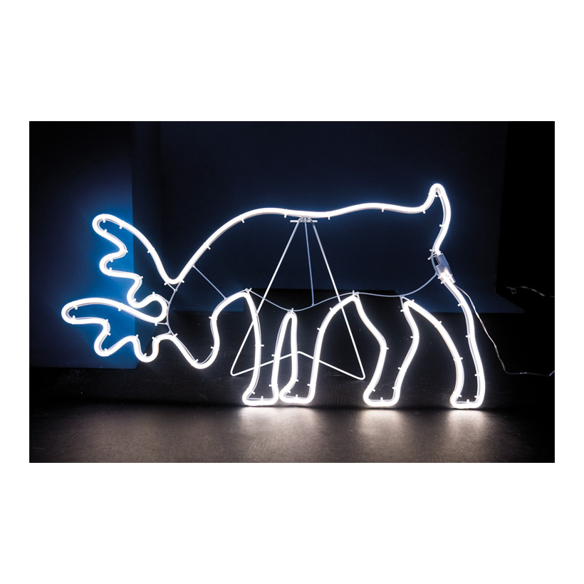 """Neon-Figur """"Rentier"""", 80x43cm 230V, IP44, 1,5m Zuleitung, LED-Lampe mit Stecker, Kopf gesenkt"""
