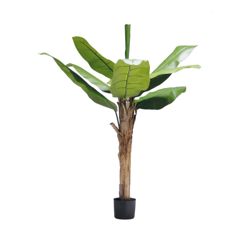 # Bananenbaum, 150cm, 9 Blätter aus Kunstseide, im Topf, Stamm aus Naturfaser
