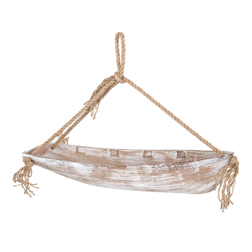 Boot mit Seilhänger, 42x10cm aus Holz