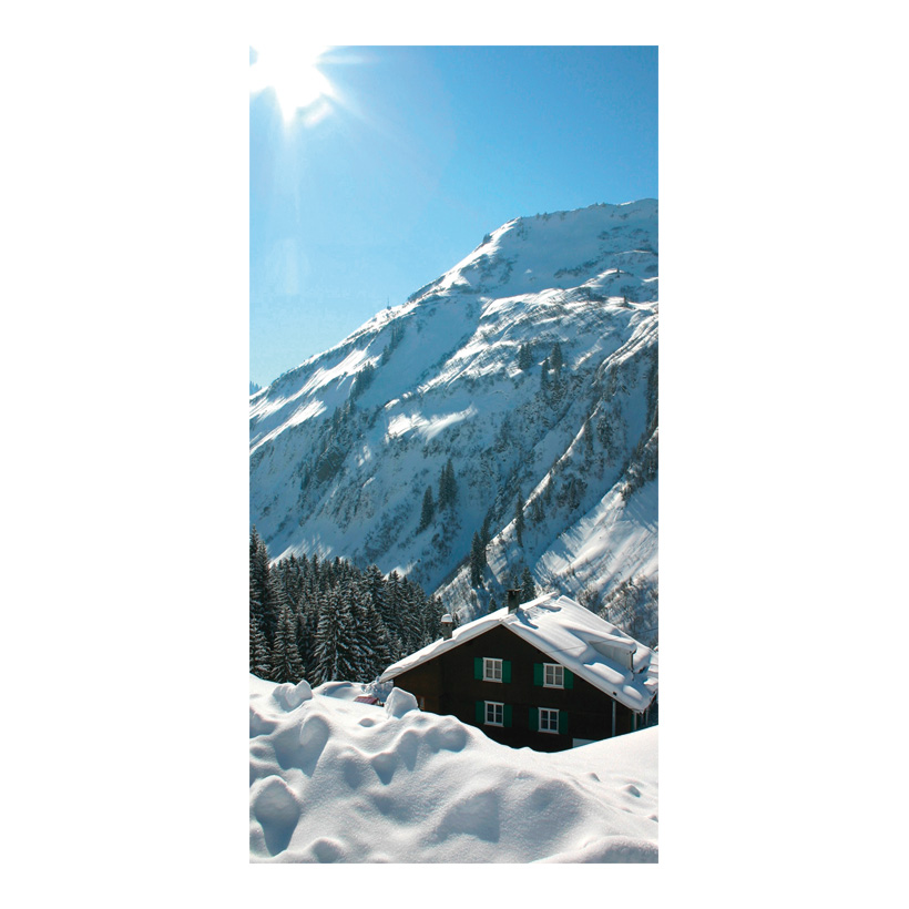"# Motivdruck ""Berghütte"", 180x90cm Stoff"