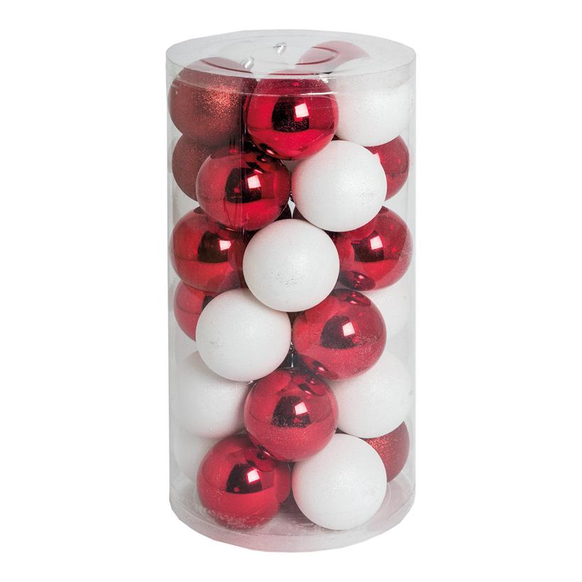 30 Weihnachtskugeln, rot/weiß, Ø 8cm 12x rot glänzend, 12x weiß glänzend, 6x rot beglittert