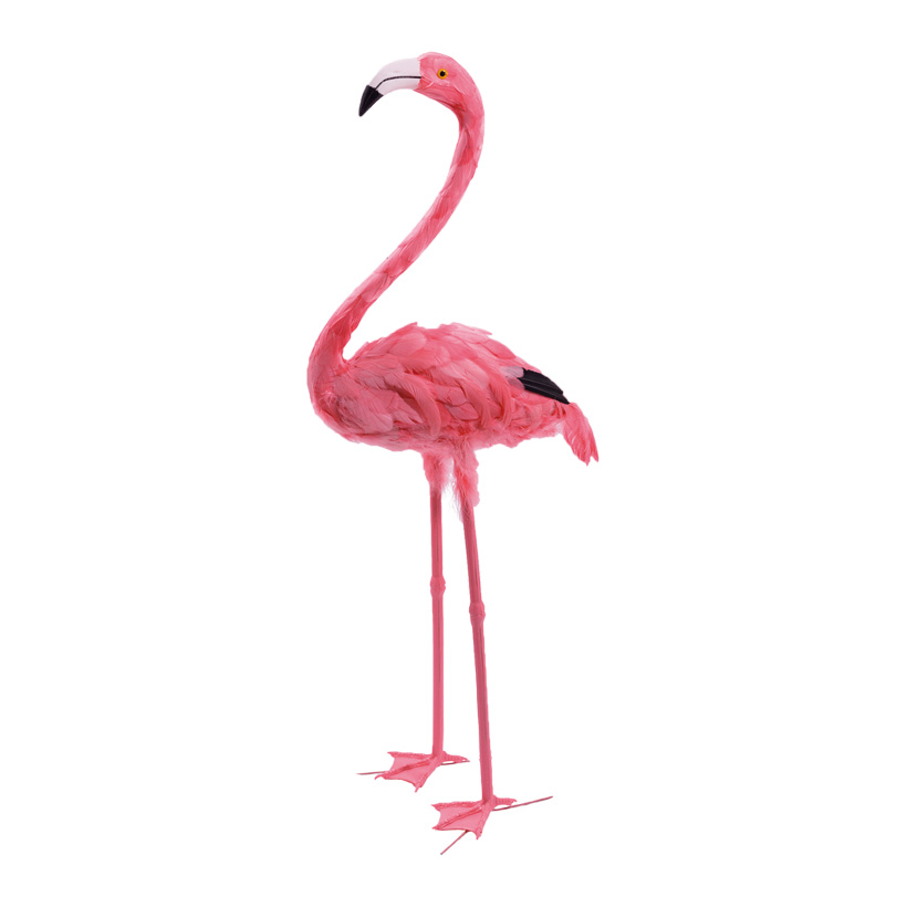 # Flamingo, 107cm, Kopf oben, Kunststoff mit Federn