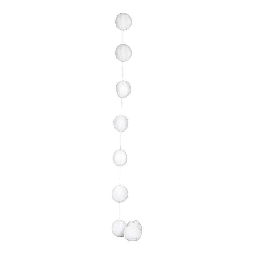 Schneeballkette, Ø 9cm, 200cm, 9-fach, Vlies, mit Glitter