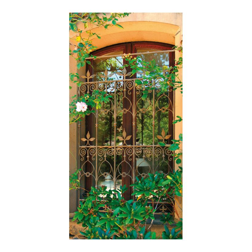 "# Motivdruck  ""Fenster mit Gitter"", 180x90cm Stoff"