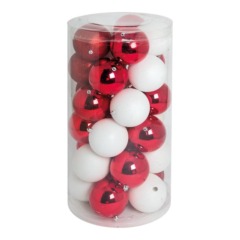 30 Weihnachtskugeln, rot/weiß, Ø 10cm 12x rot glänzend, 12x weiß glänzend, 6x rot beglittert