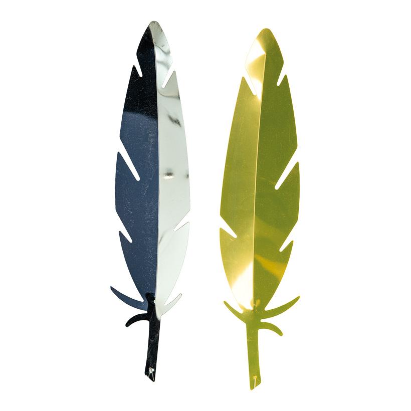 Feder, Cut-Out, 42x10cm stilisiert, je eine Seite gold & silber, aus Kunststoff