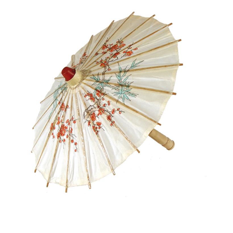 Papierschirm, Ø 30cm, 40cm, mit Blumendruck, geölt