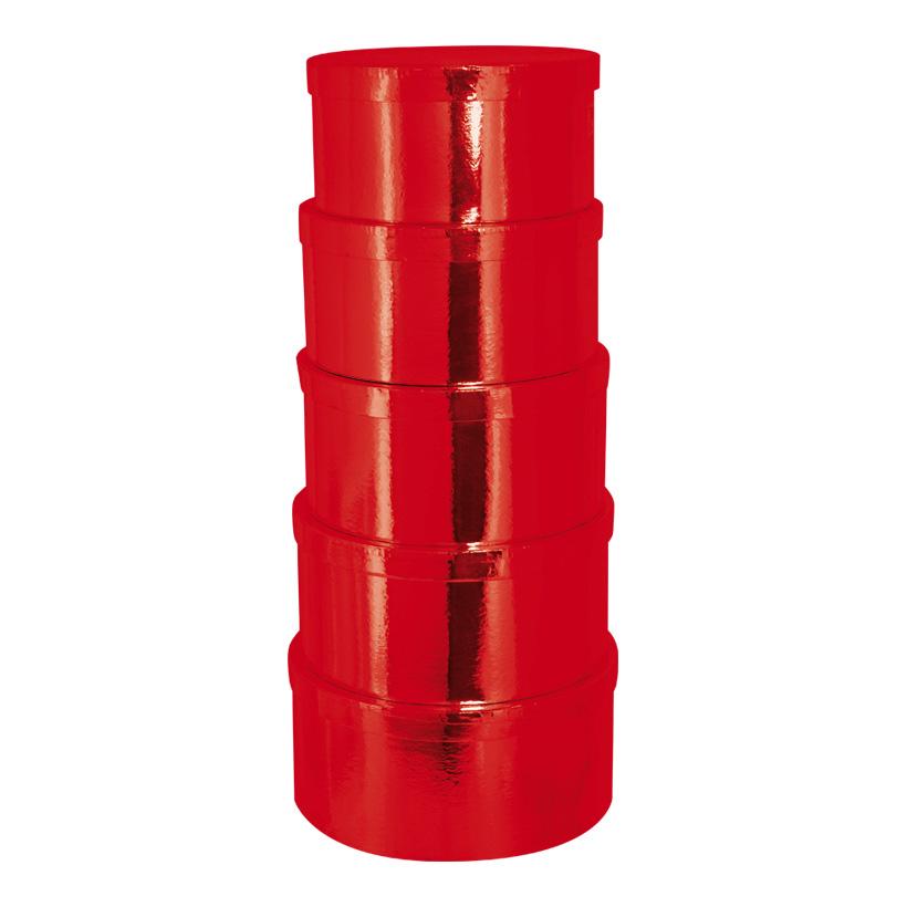 Boxen, Ø27,5x14cm - Ø33,5x16cm, 5 Stk./Satz, rund, nestend, Pappe