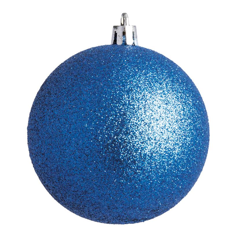 Weihnachtskugel, blau glitter, Ø 8cm 6 St./Blister