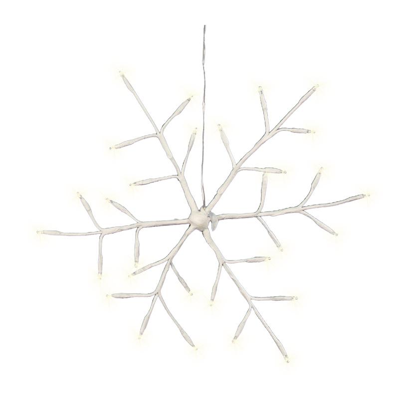 Schneeflocke, 40cm, 40LEDs, warm weiß, für Außen, mit 6 Stunden Timer, Batteriebetrieb, 3x AA Batterie