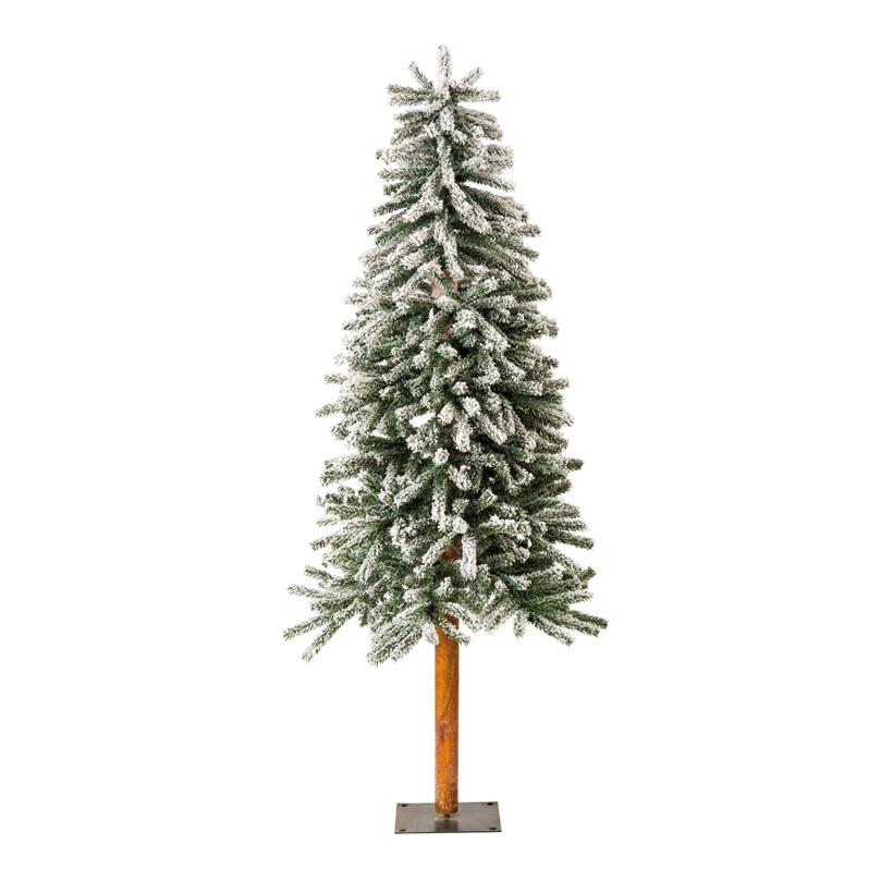 Tannenbaum, 180cm Ø70cm schlank, mit Metallfuß, beschneit, 863 Tips, mehrteilig