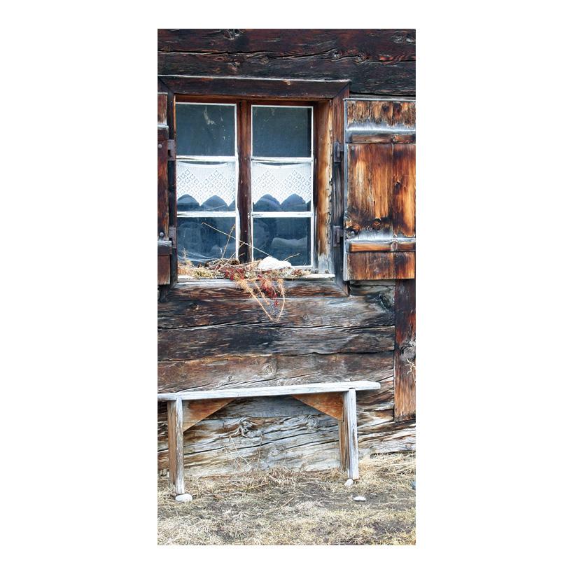 "# Motivdruck ""Almhüttenfenster"", 180x90cm Papier"