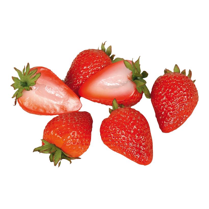 # Erdbeerhälften, 6cm, 6Stck./Btl., Kunststoff