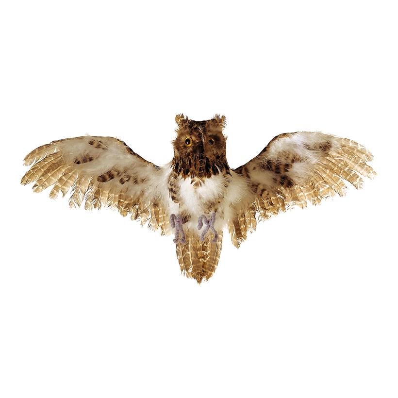 Eule, fliegend, 55x30cm, Polyfoam mit Federn