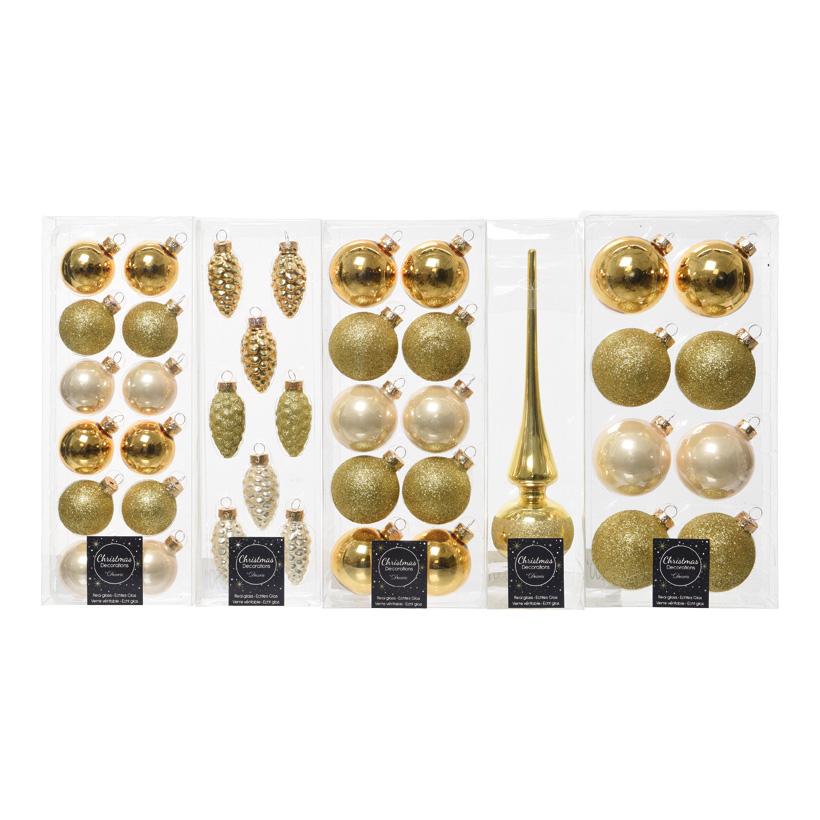 # Baumschmucksortiment aus Glas, Kugeln 4-6cm, Zapfen 3-6cm, Baumspitze 6x26cm,40-tlg.