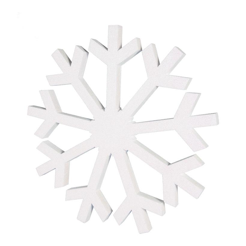 Schneeflocke Ø 90cm beglittert, mit Hänger, aus Styropor